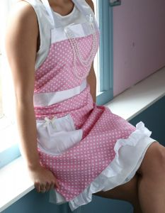 Pink Polka Dotted Pearl Apron