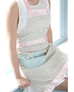 White Polka Dotted Pearl Apron